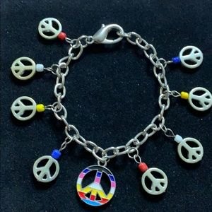 Electic Bracelet - Multicolored Beads & ☮️ Charms
